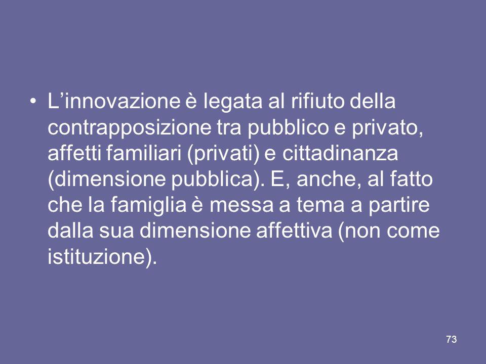 L'innovazione è legata al rifiuto della contrapposizione tra pubblico e privato, affetti familiari (privati) e cittadinanza (dimensione pubblica).