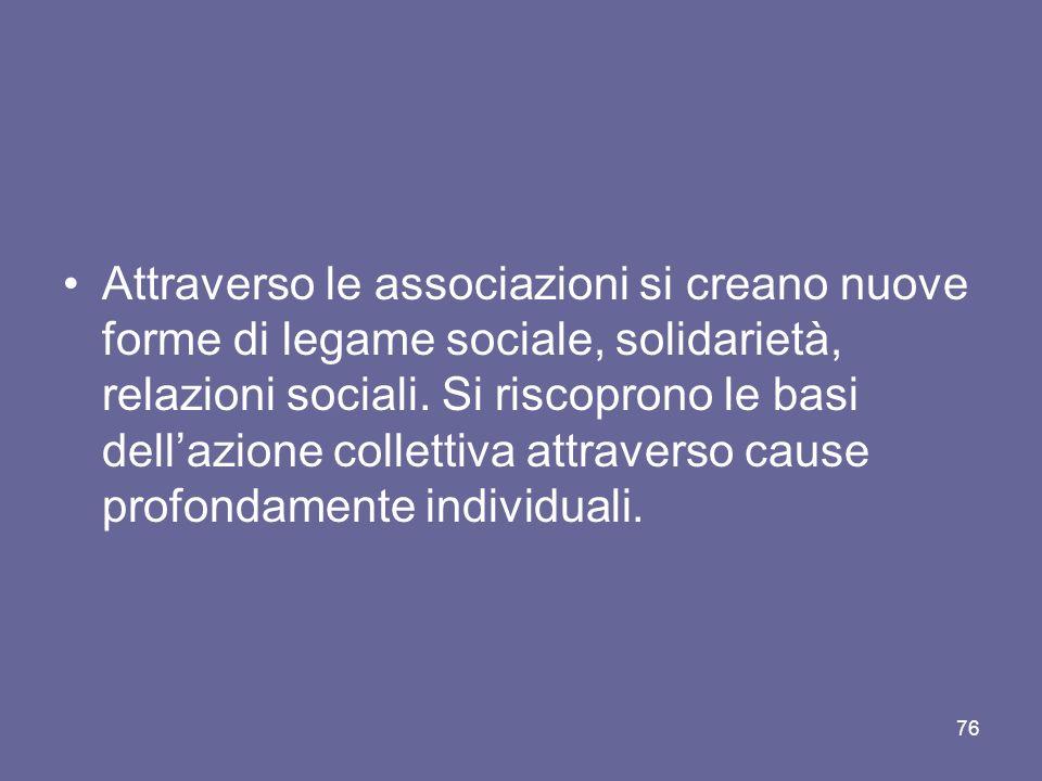 Attraverso le associazioni si creano nuove forme di legame sociale, solidarietà, relazioni sociali.