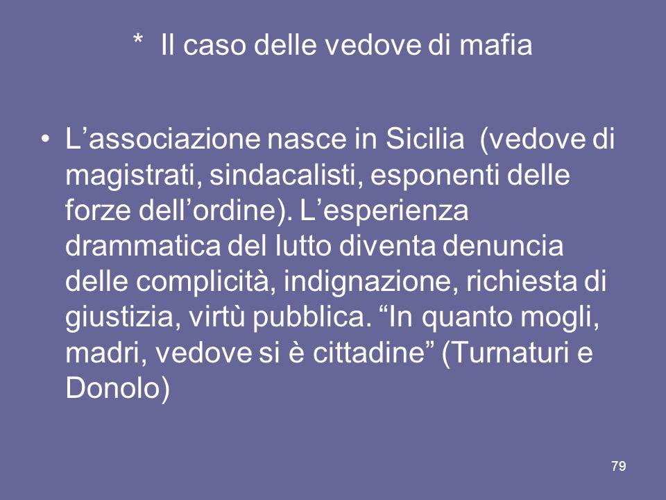 * Il caso delle vedove di mafia