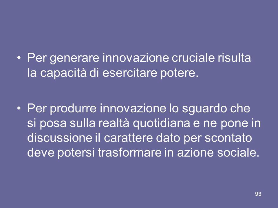 Per generare innovazione cruciale risulta la capacità di esercitare potere.