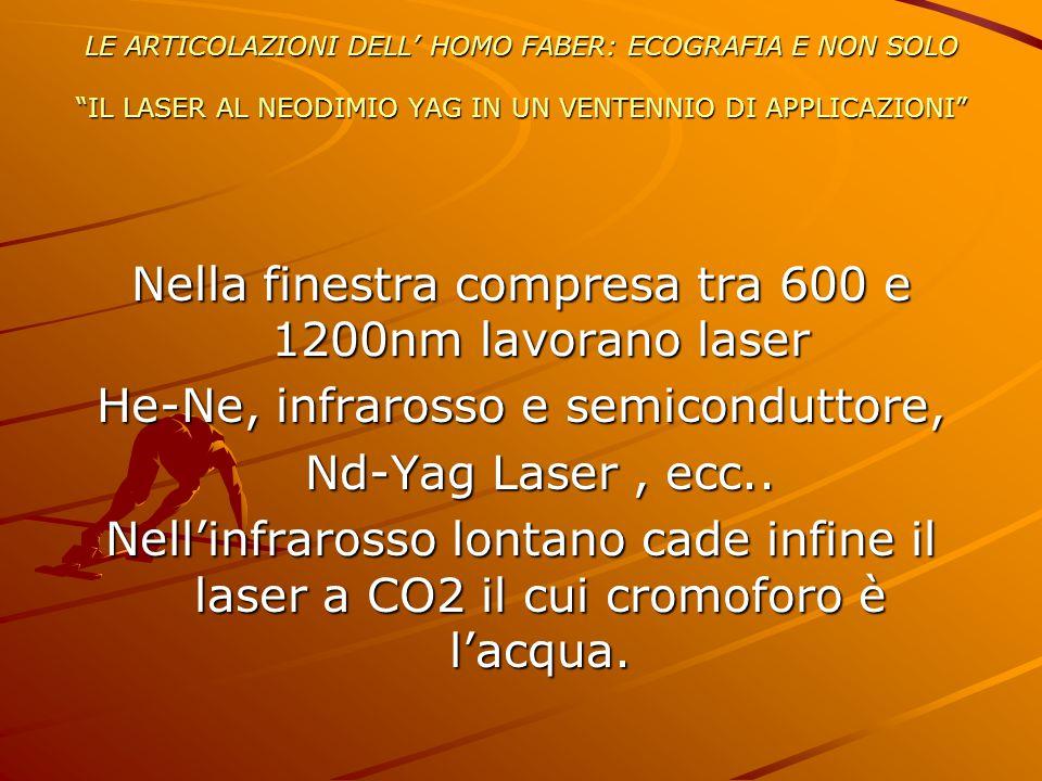 Nella finestra compresa tra 600 e 1200nm lavorano laser
