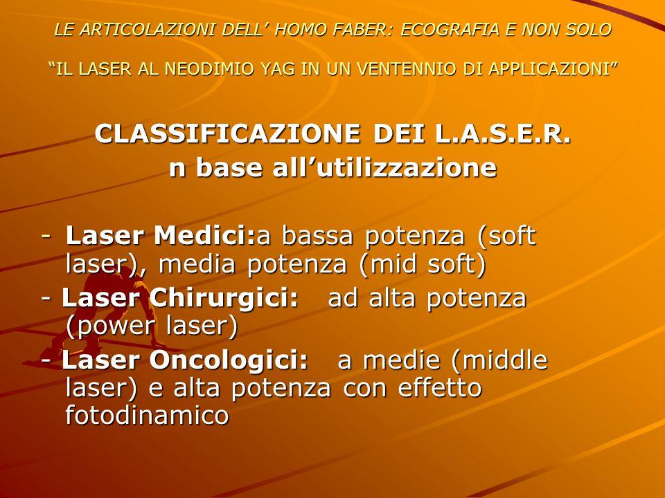 CLASSIFICAZIONE DEI L.A.S.E.R. n base all'utilizzazione