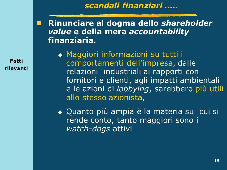 Fatti rilevantiscandali finanziari ….. Rinunciare al dogma dello shareholder value e della mera accountability finanziaria.