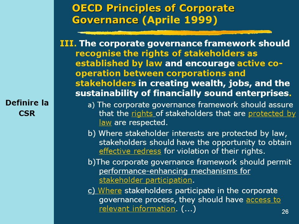 OECD Principles of Corporate Governance (Aprile 1999)
