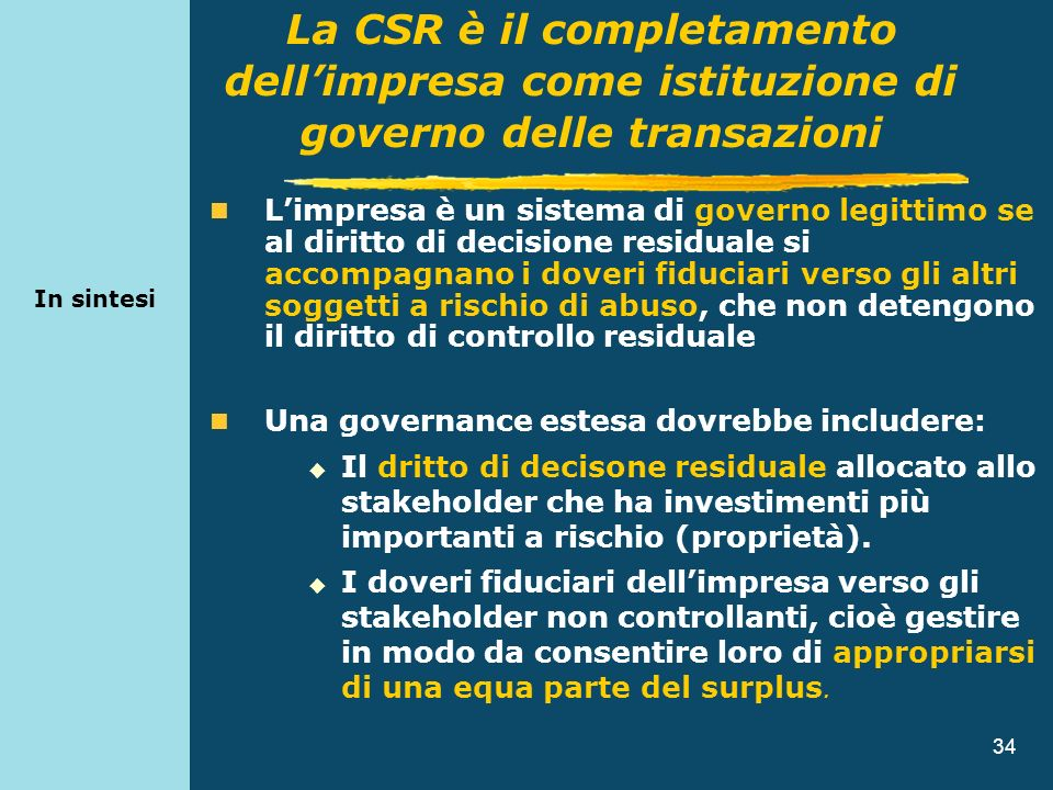 In sintesiLa CSR è il completamento dell'impresa come istituzione di governo delle transazioni.