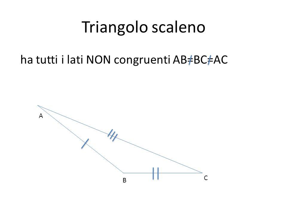 Triangolo scaleno ha tutti i lati NON congruenti AB=BC=AC A C B