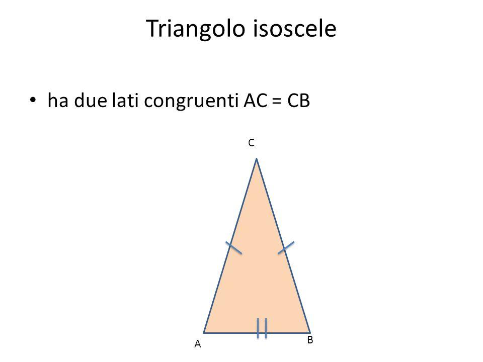 Triangolo isoscele ha due lati congruenti AC = CB C B A