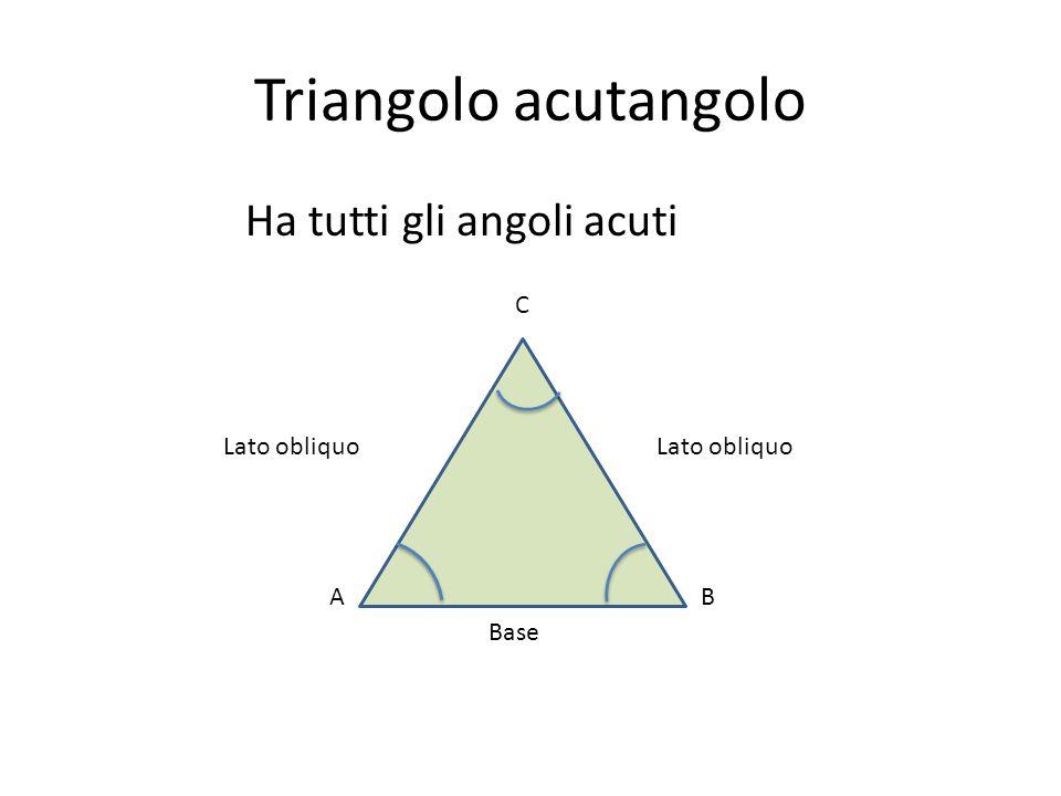 Triangolo acutangolo Ha tutti gli angoli acuti C Lato obliquo