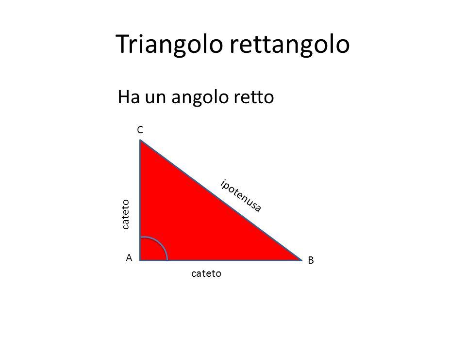 Triangolo rettangolo Ha un angolo retto C ipotenusa cateto A B cateto