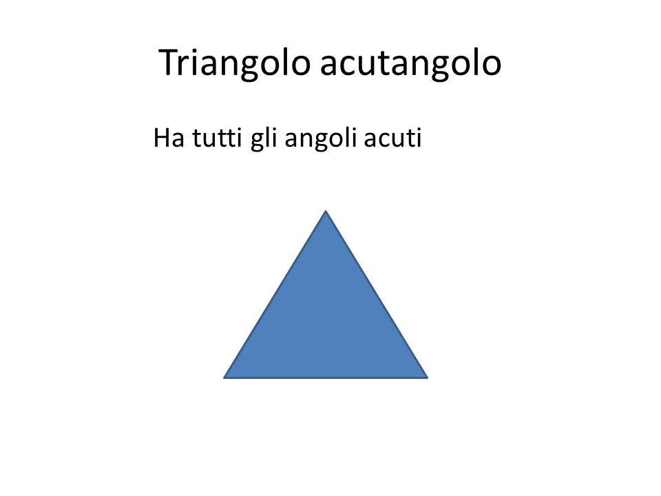 Triangolo acutangolo Ha tutti gli angoli acuti
