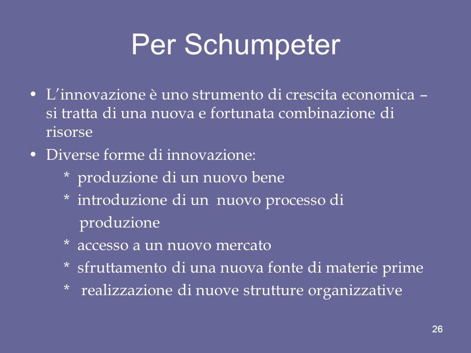 Per Schumpeter L'innovazione è uno strumento di crescita economica – si tratta di una nuova e fortunata combinazione di risorse.