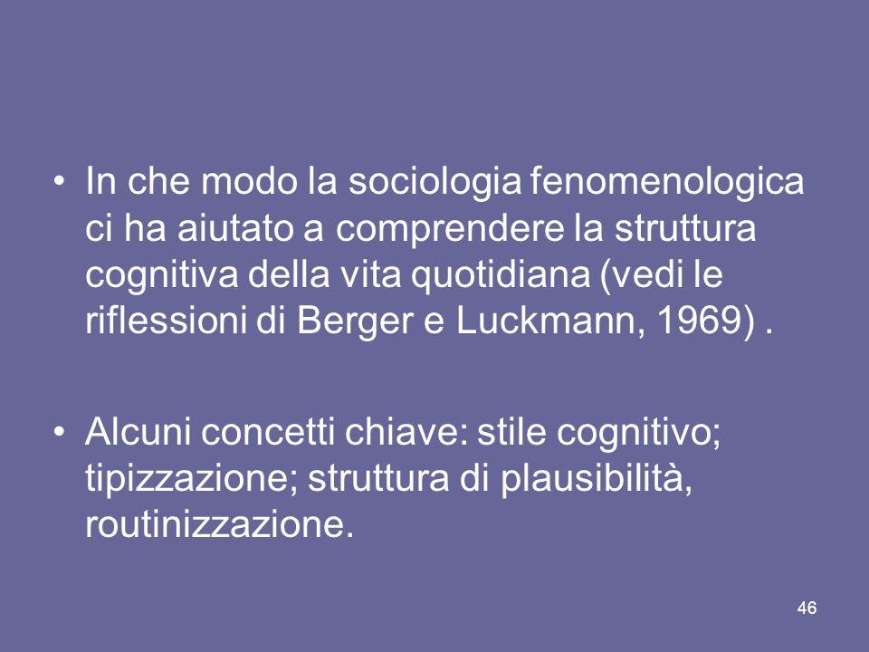 In che modo la sociologia fenomenologica ci ha aiutato a comprendere la struttura cognitiva della vita quotidiana (vedi le riflessioni di Berger e Luckmann, 1969) .