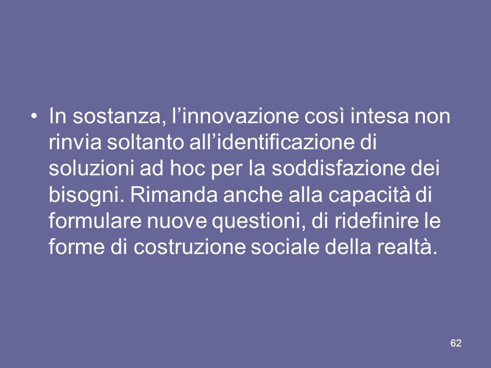 In sostanza, l'innovazione così intesa non rinvia soltanto all'identificazione di soluzioni ad hoc per la soddisfazione dei bisogni.