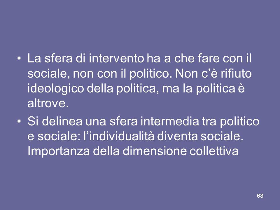 La sfera di intervento ha a che fare con il sociale, non con il politico. Non c'è rifiuto ideologico della politica, ma la politica è altrove.