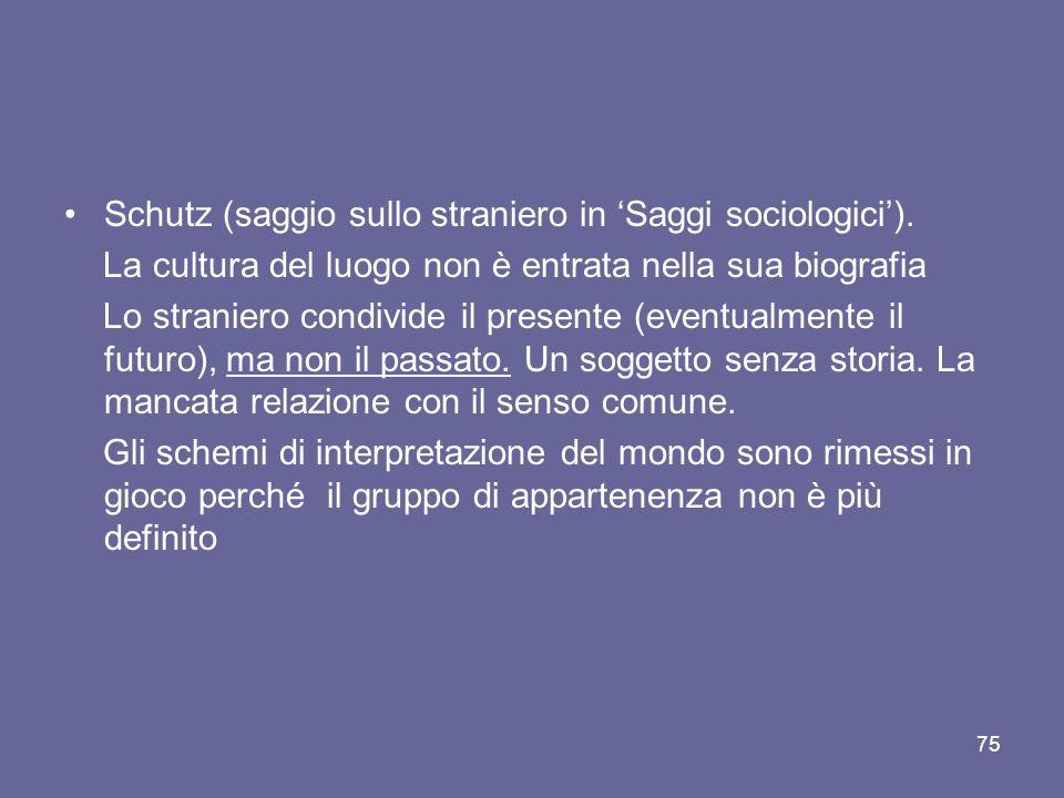 Schutz (saggio sullo straniero in 'Saggi sociologici').
