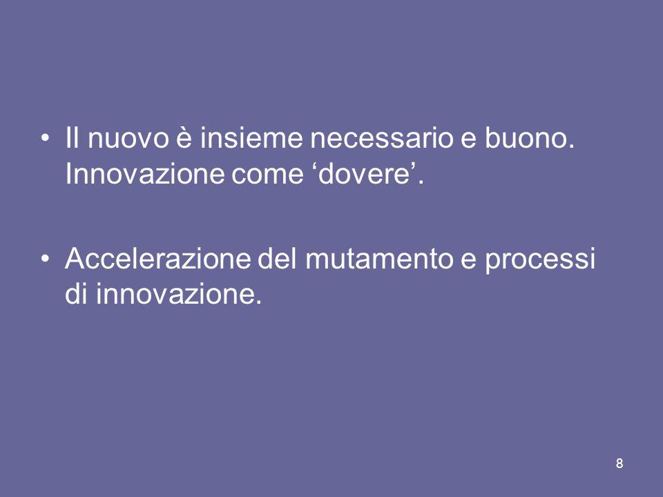 Il nuovo è insieme necessario e buono. Innovazione come 'dovere'.