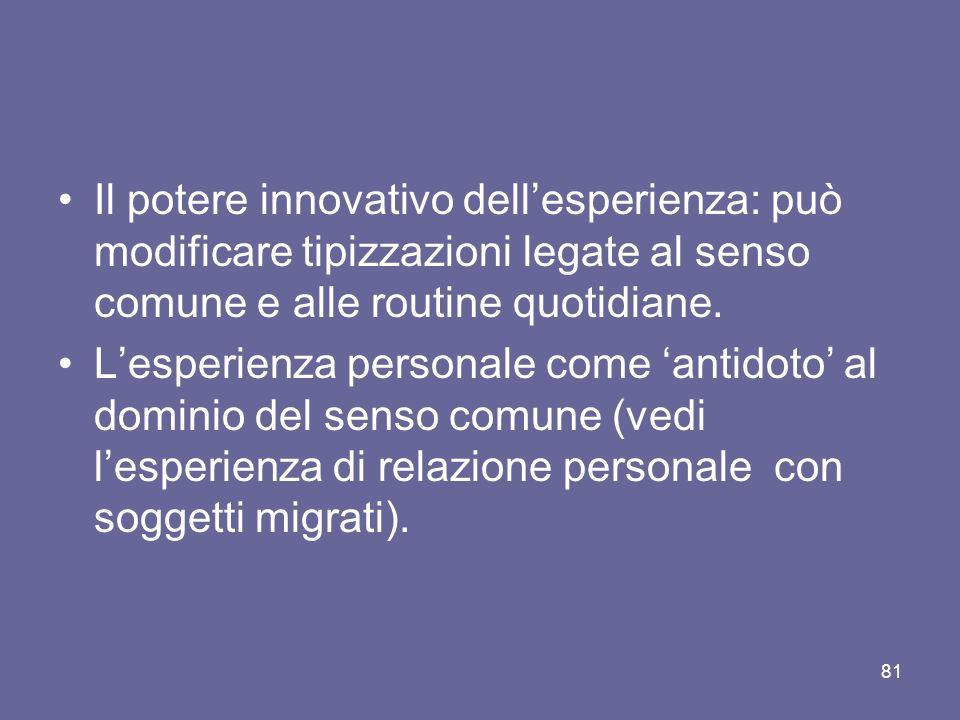 Il potere innovativo dell'esperienza: può modificare tipizzazioni legate al senso comune e alle routine quotidiane.