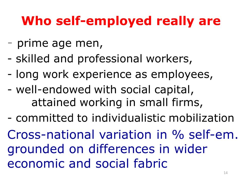 Who self-employed really are