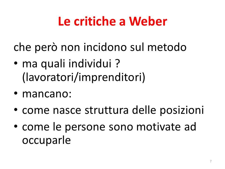 Le critiche a Weber che però non incidono sul metodo