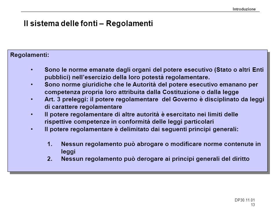 Il sistema delle fonti – Regolamenti