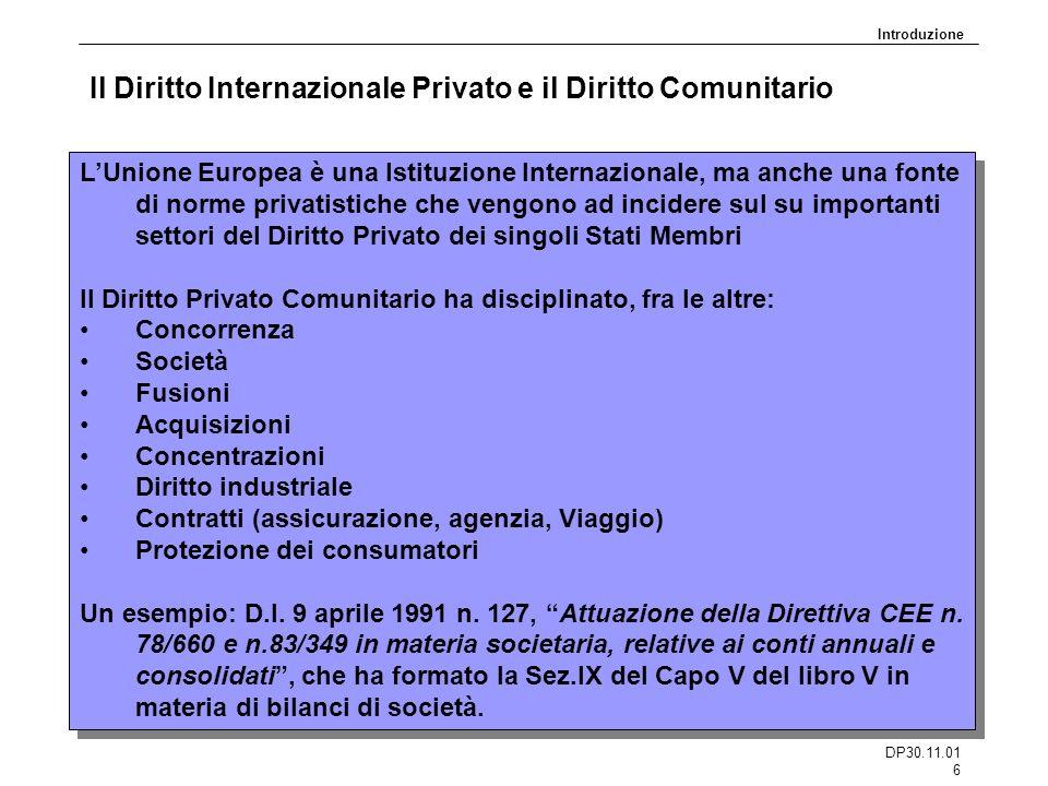 Il Diritto Internazionale Privato e il Diritto Comunitario