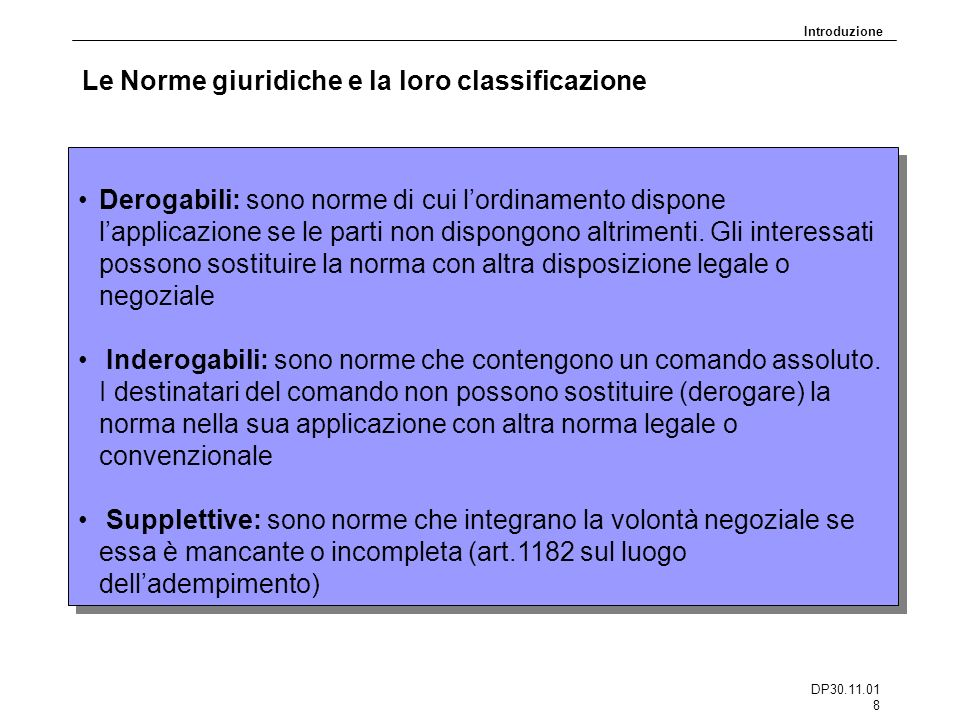 Le Norme giuridiche e la loro classificazione