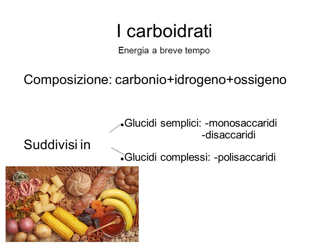 I carboidrati Composizione: carbonio+idrogeno+ossigeno Suddivisi in
