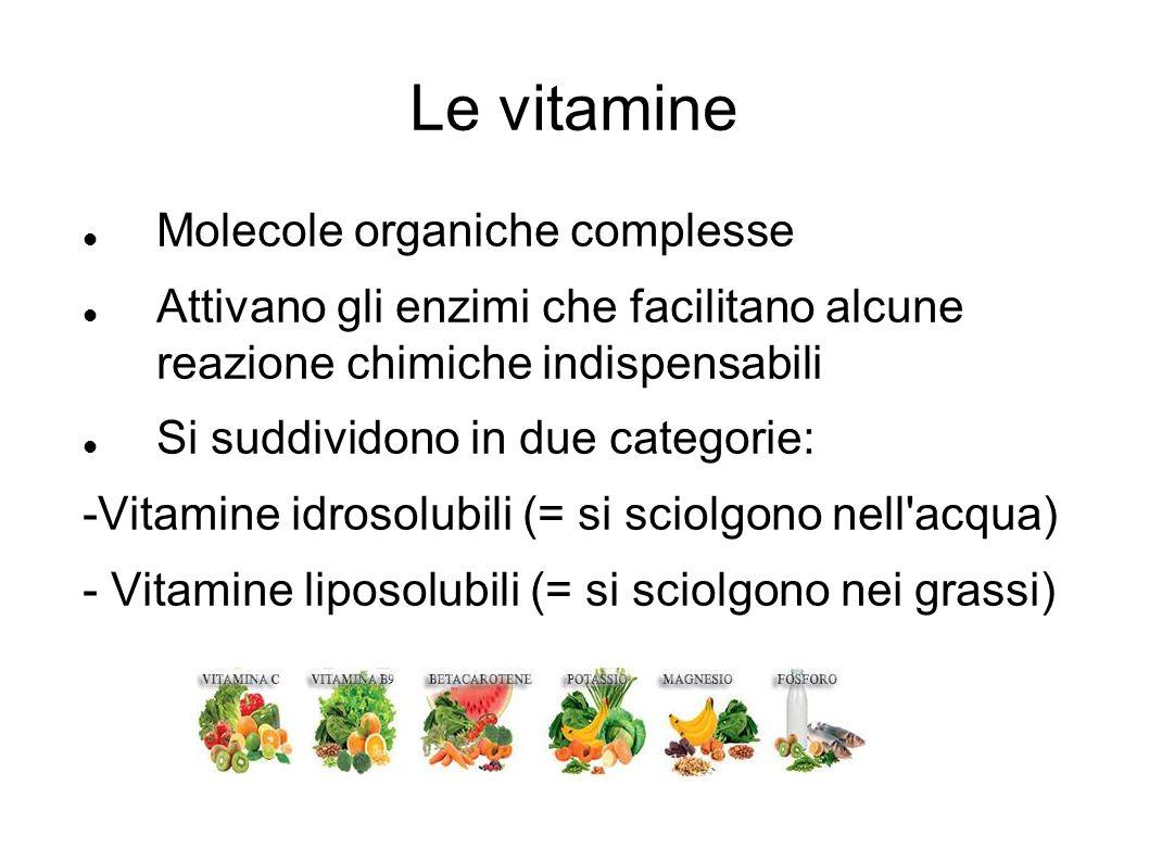 Le vitamine Molecole organiche complesse