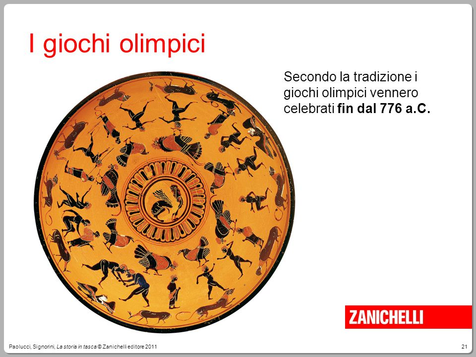 I giochi olimpici Secondo la tradizione i giochi olimpici vennero celebrati fin dal 776 a.C.