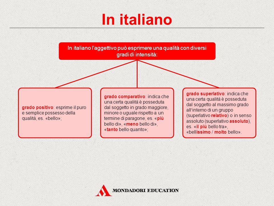 In italiano In italiano l'aggettivo può esprimere una qualità con diversi gradi di intensità: