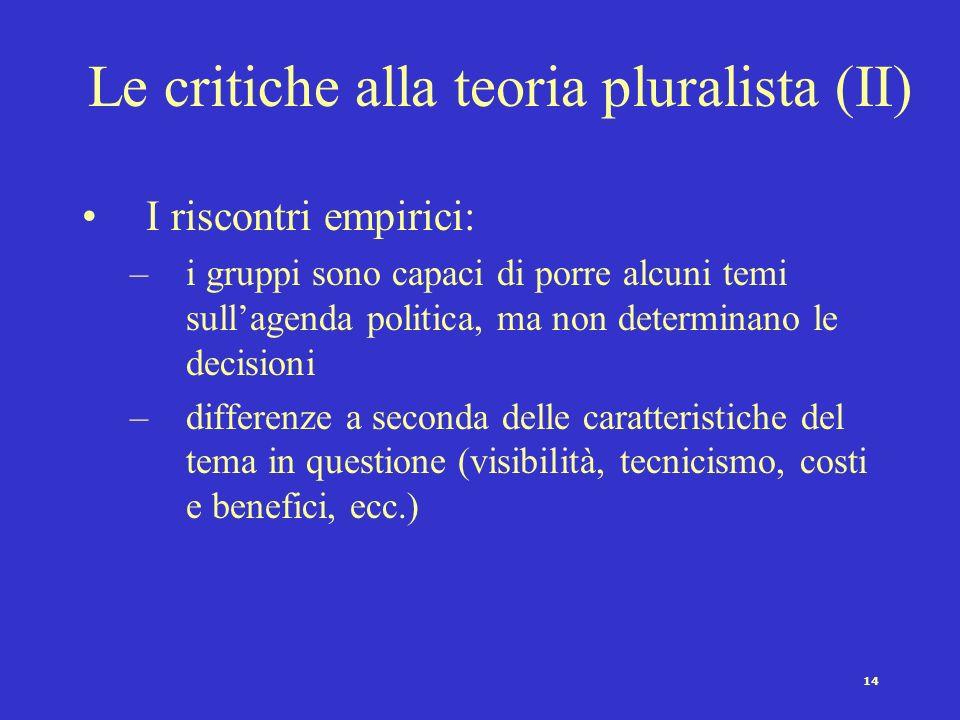Le critiche alla teoria pluralista (II)