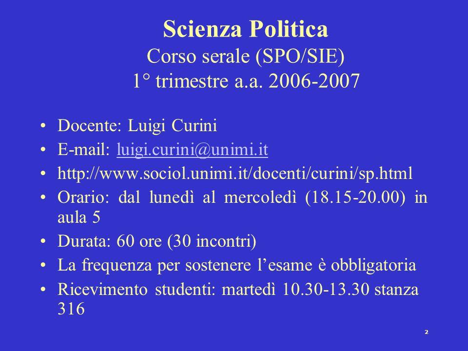 Scienza Politica Corso serale (SPO/SIE) 1° trimestre a.a. 2006-2007