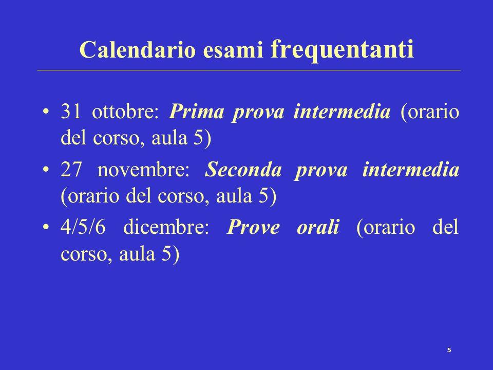 Calendario esami frequentanti