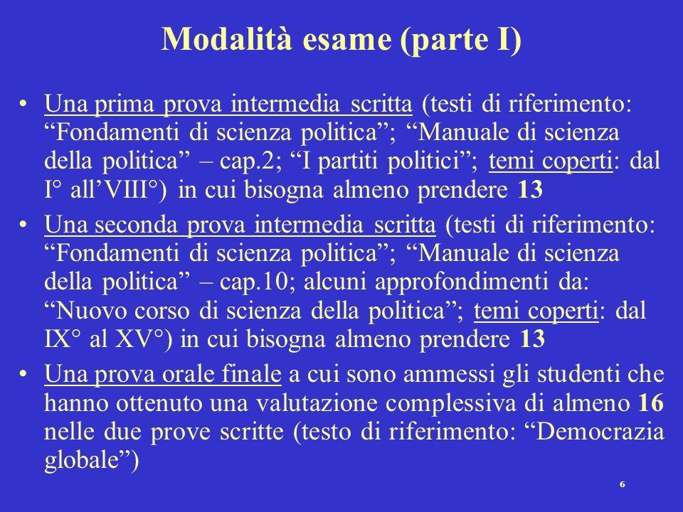 Modalità esame (parte I)