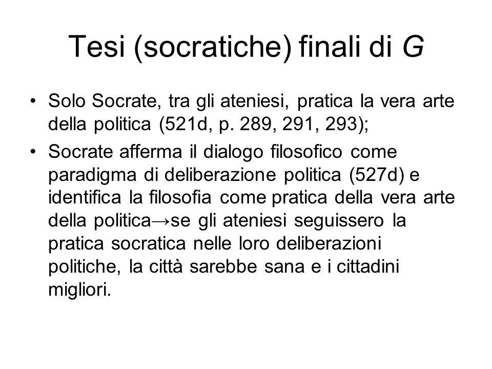 Tesi (socratiche) finali di G