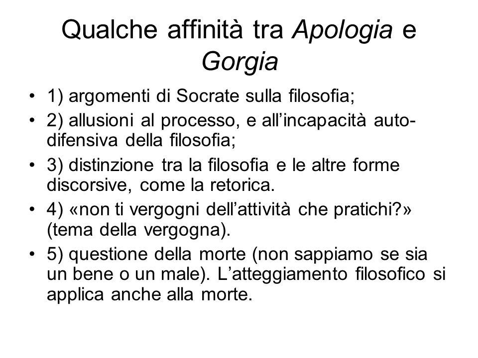 Qualche affinità tra Apologia e Gorgia