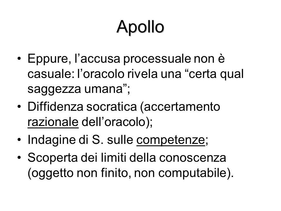 Apollo Eppure, l'accusa processuale non è casuale: l'oracolo rivela una certa qual saggezza umana ;