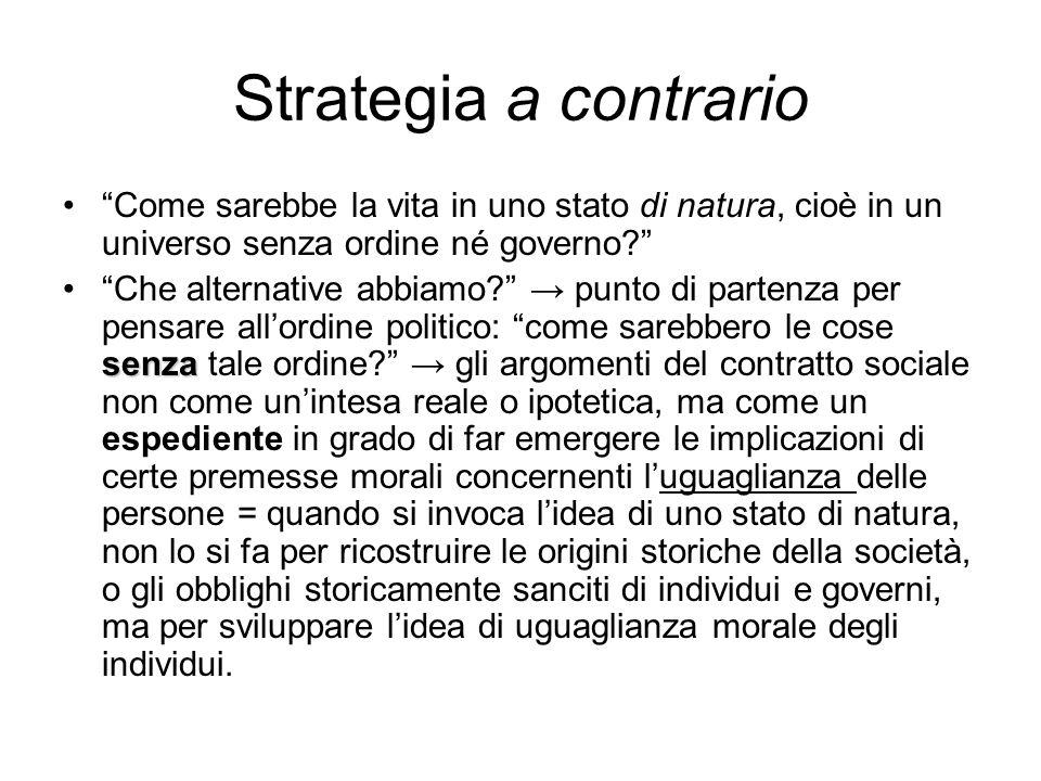 Strategia a contrario Come sarebbe la vita in uno stato di natura, cioè in un universo senza ordine né governo