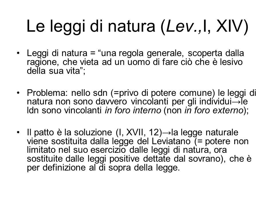 Le leggi di natura (Lev.,I, XIV)