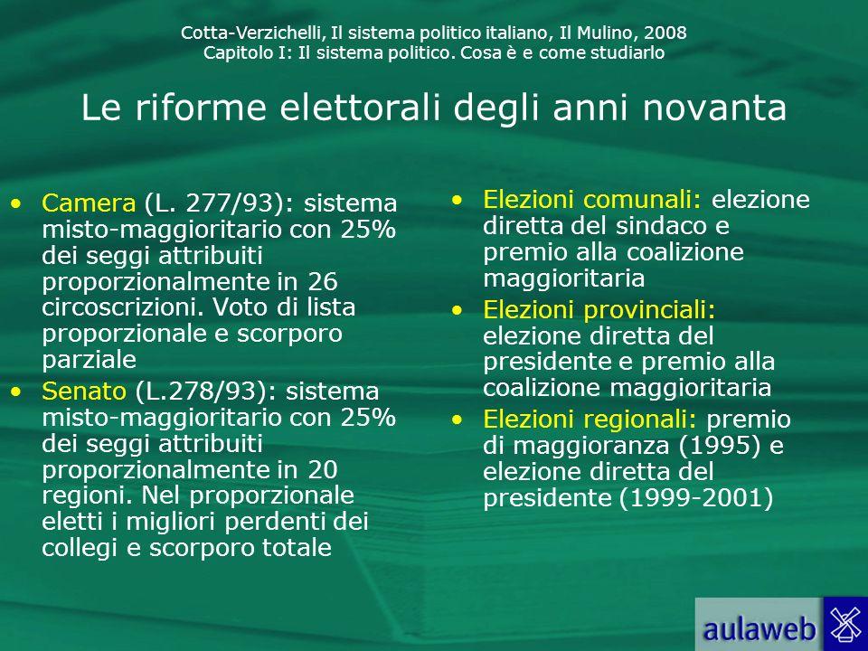 Le riforme elettorali degli anni novanta