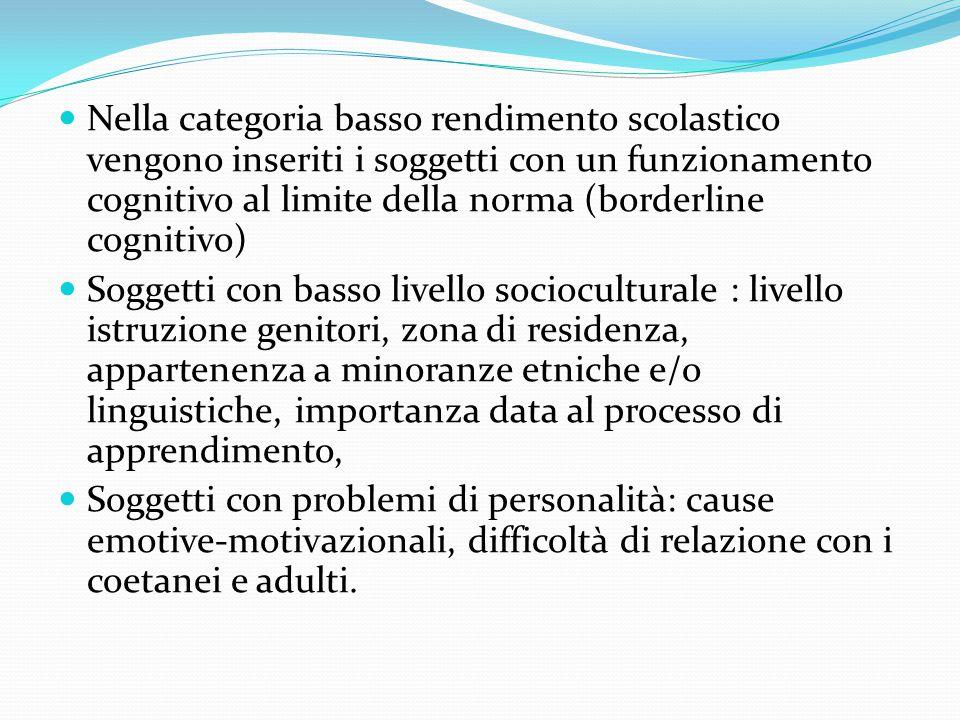 Nella categoria basso rendimento scolastico vengono inseriti i soggetti con un funzionamento cognitivo al limite della norma (borderline cognitivo)