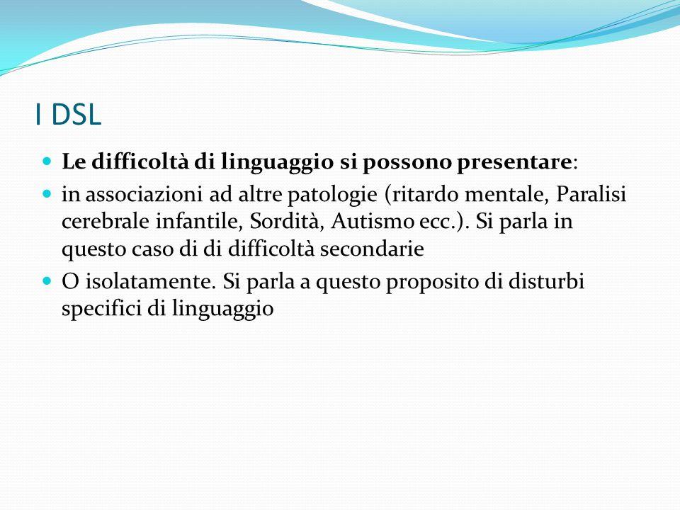I DSL Le difficoltà di linguaggio si possono presentare: