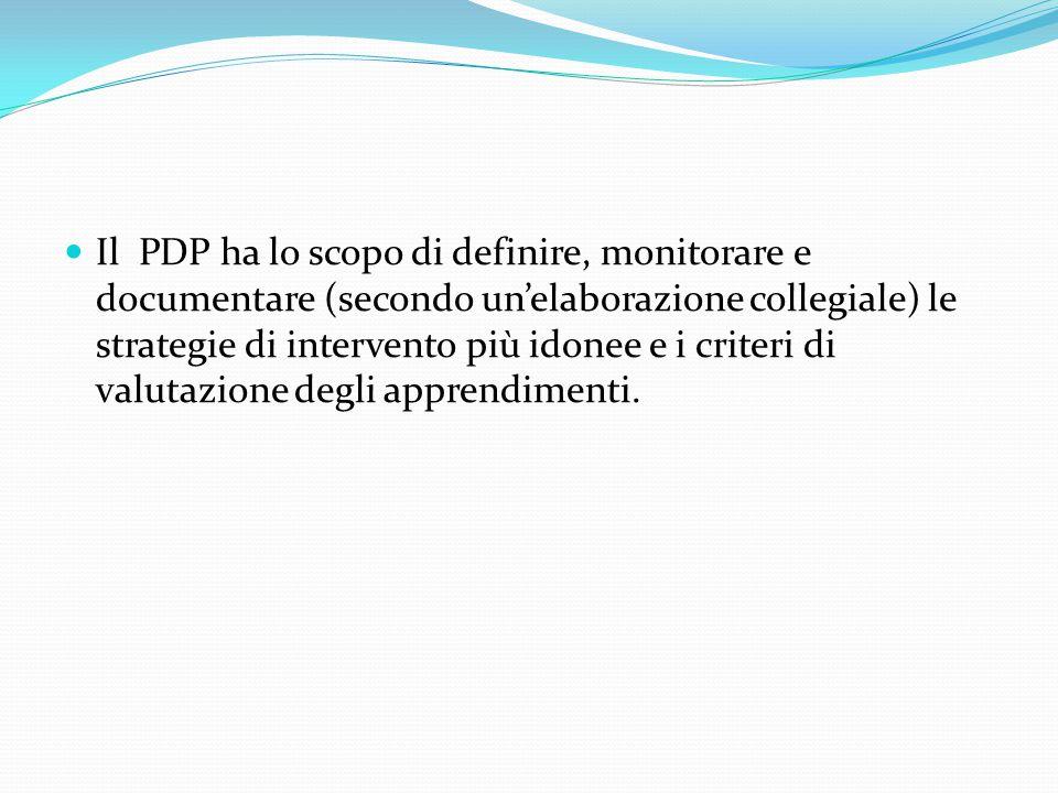 Il PDP ha lo scopo di definire, monitorare e documentare (secondo un'elaborazione collegiale) le strategie di intervento più idonee e i criteri di valutazione degli apprendimenti.