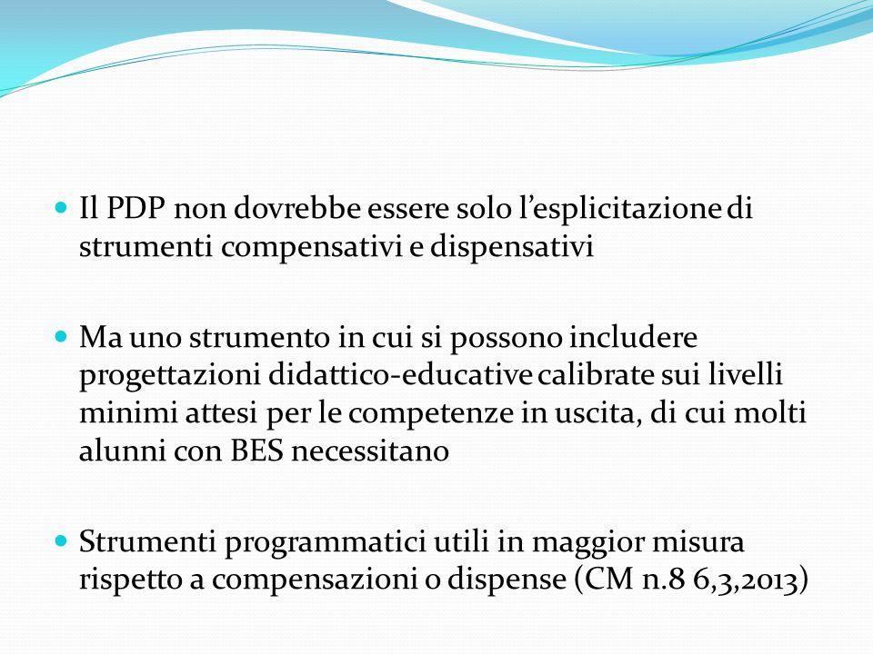 Il PDP non dovrebbe essere solo l'esplicitazione di strumenti compensativi e dispensativi