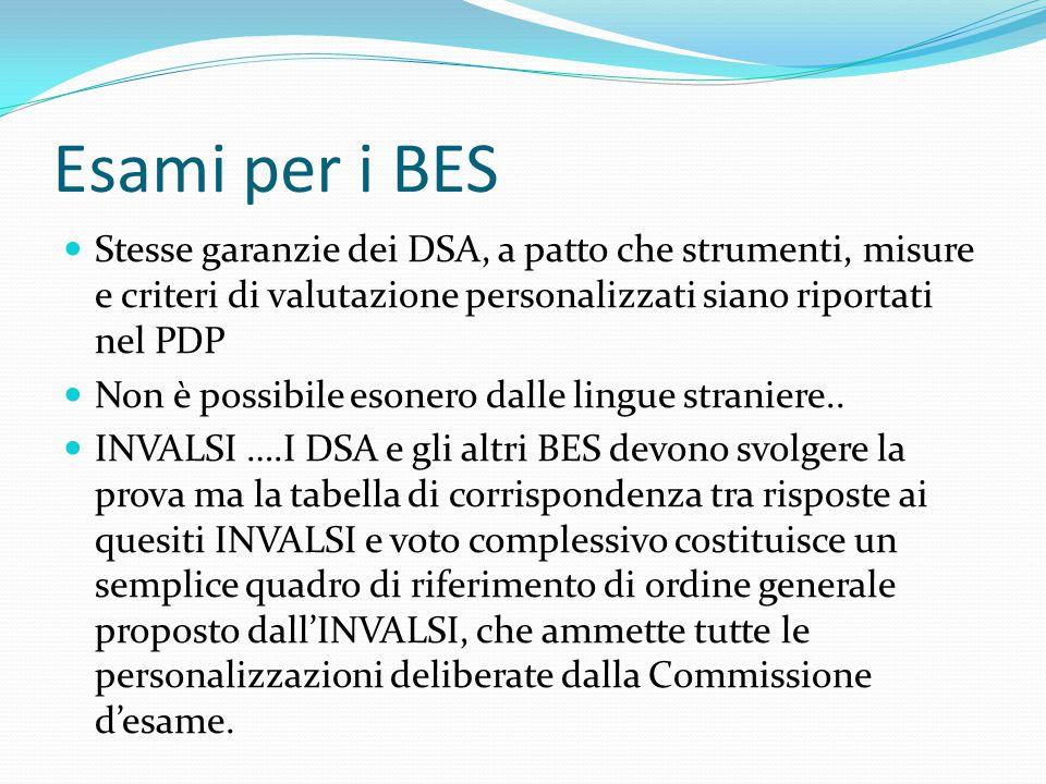 Esami per i BES Stesse garanzie dei DSA, a patto che strumenti, misure e criteri di valutazione personalizzati siano riportati nel PDP.