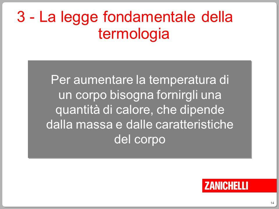 3 - La legge fondamentale della termologia