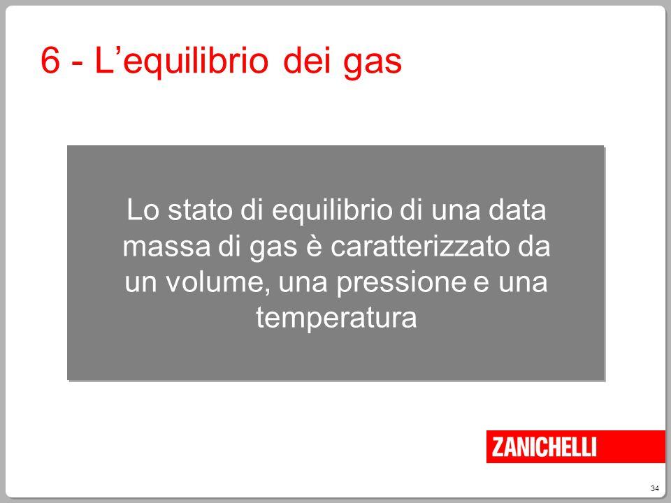 6 - L'equilibrio dei gas Lo stato di equilibrio di una data massa di gas è caratterizzato da un volume, una pressione e una temperatura.