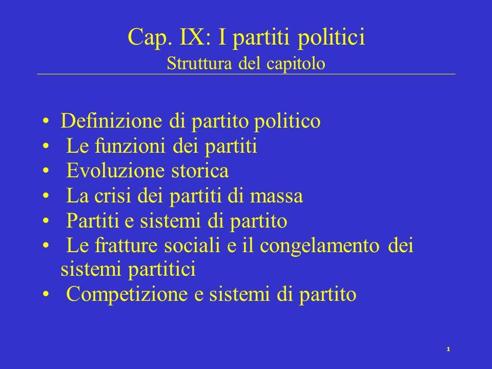 Cap. IX: I partiti politici Struttura del capitolo