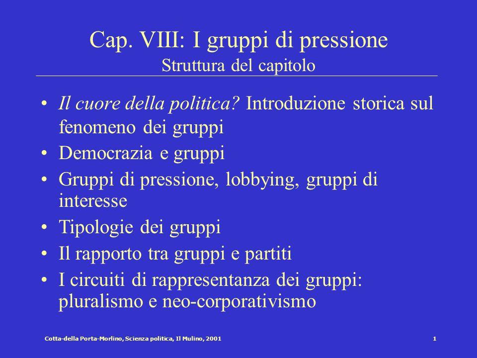 Cap. VIII: I gruppi di pressione Struttura del capitolo