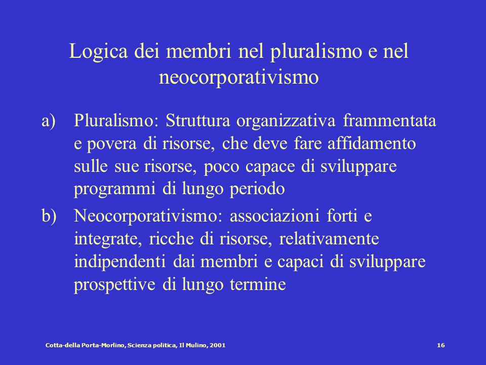 Logica dei membri nel pluralismo e nel neocorporativismo